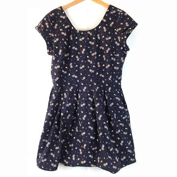 clockhouse Dresses & Skirts - {CLOCKHOUSE} Navy Blue Bicycle Print Dress